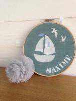 motif bateau - toile lagon - écriture blanche et bleu