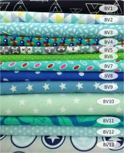 collection coton imprimé bleu / vert - 100% coton