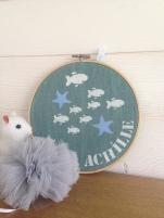 motif poissons - toile lagon - écriture blanche et bleu