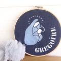 motif vierge à l'enfant - toile nuit - écriture blanche et bleue