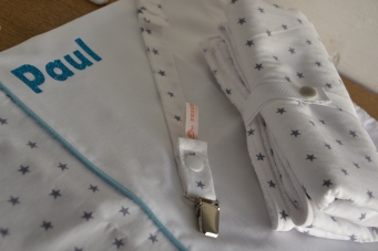 sac à tout personnalisé + attache tétine + tapis à langer nomade - tissu étoilé