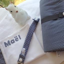 sac à tout personnalise + attache tétine + tapis à langer nomade - tissu à pois