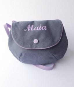 sac à main fillette : toile grise - flex parme