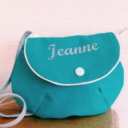 sac à main fillette : toile turquoise - flex argenté