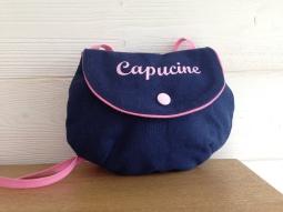 sac à main fillette : toile marine - flex pastel rose
