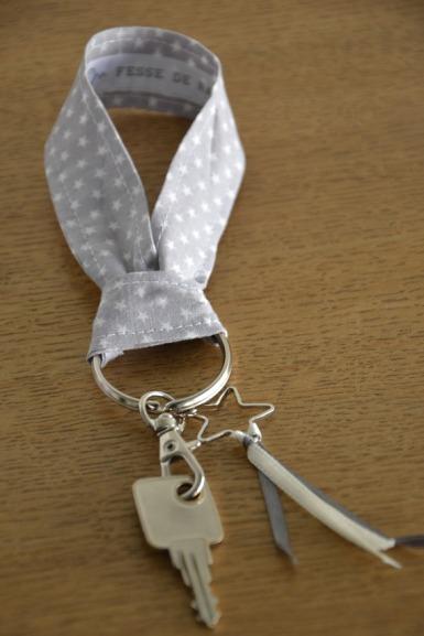 porte clé modèle court - tissu étoilé