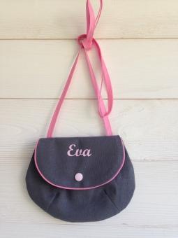 sac à main fillette : toile grise - flex pastel rose
