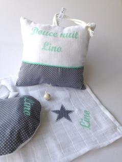 Ensemble Baby Cocoon - bouillotte modèle pomme + lange personnalisé + boîte à musique modèle douce nuit - tissu à pois