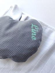 Ensemble Baby Cocoon - bouillotte modèle pomme personnalisée - tissu à pois