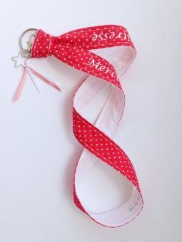 porte clé - modèle tour de cou - tissu à pois - flex blanc