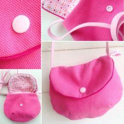 sac à main fillette : toile rose - doublure graphique