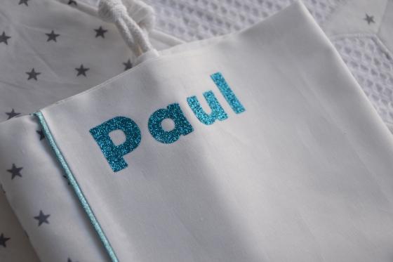 Modèle personnalisation flex - tissu étoilé - flex pailleté bleu
