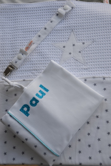 Sac à tout personnalise + attache tétine + tapis à langer : tissu étoilé