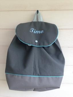 sac à dos enfant : toile grise - tissu étoilé