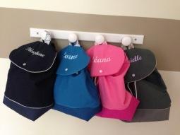 sac à dos personnalisé : toile marine, bleu dur, rose et grise