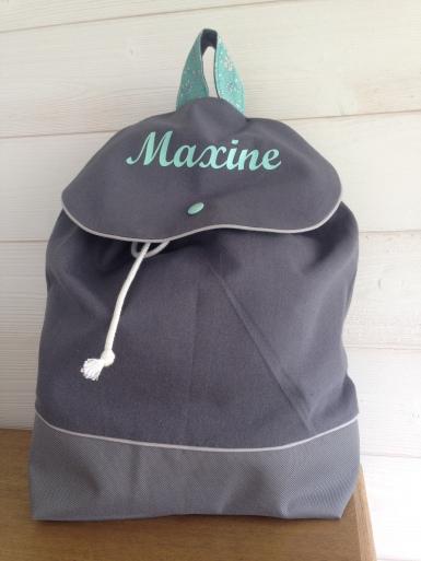 sac à dos personnalisé : toile grise - tissu collection Liberty