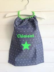 modèle coton - personnalisation prénom et motif étoile - flex vert fluo