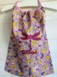 modèle coton - motif libellule - tissu fleuri - flex pailleté rose