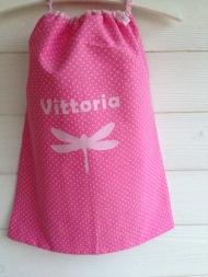 modèle coton - motif libellule - tissu à pois - flex pastel rose