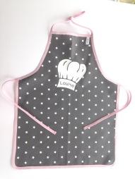 tablier coton enduit - bordure rose pâle