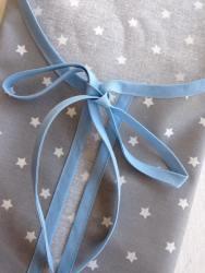 tablier coton enduit - bordure ciel