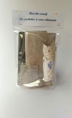 kit couture pour réaliser 2 pochettes à sous vêtements.