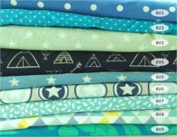 collection coton imprimés bleus vert - 100% coton